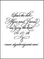 Victoria Calligraphy Letterpress Save The Date Design Small