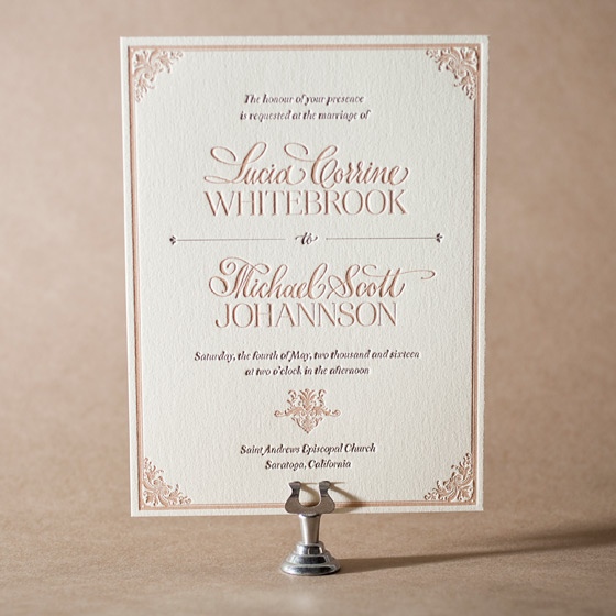 Victorian Elegance Letterpress Invitation Design Small
