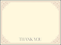 Victorian Elegance Letterpress Thank You Card Flat Design Small
