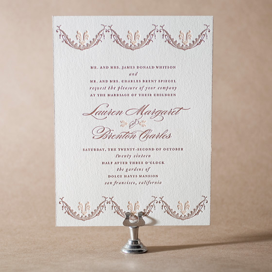 Vintage Garland Letterpress Invitation Design Small