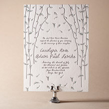Vintage Leaves Letterpress Invitation Design Small