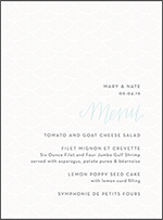 Wave Letterpress Menu Design Small