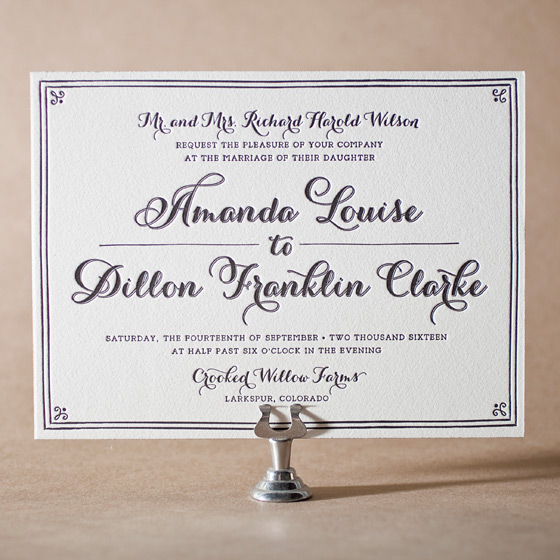 Westley Letterpress Invitation Design Small