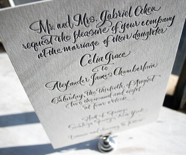 Modern Calligraphy Wedding Invitations : Letterpress wedding invitations